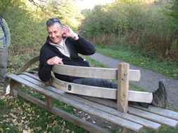 Rob Talbot from Winchcombe trying out one of the artwork benches from the WANDER project, Yorkshire Wolds Way