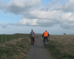 walker and cyclist sharing path